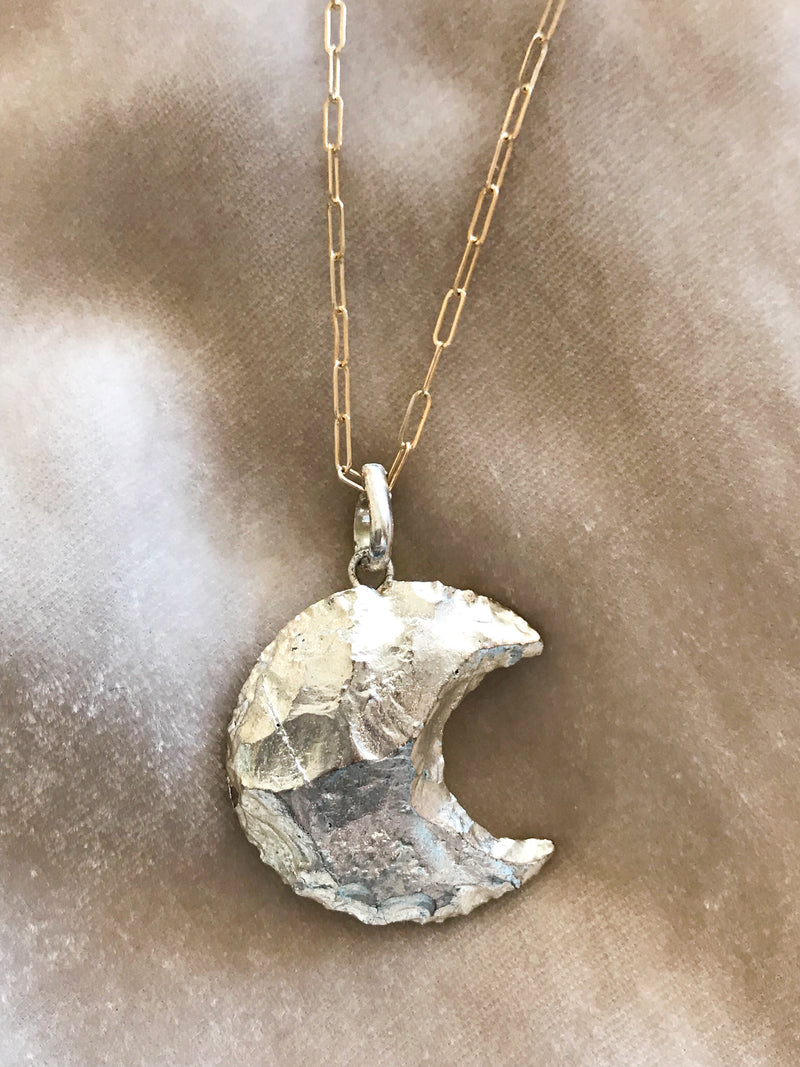 gold moon pendant on gold fill