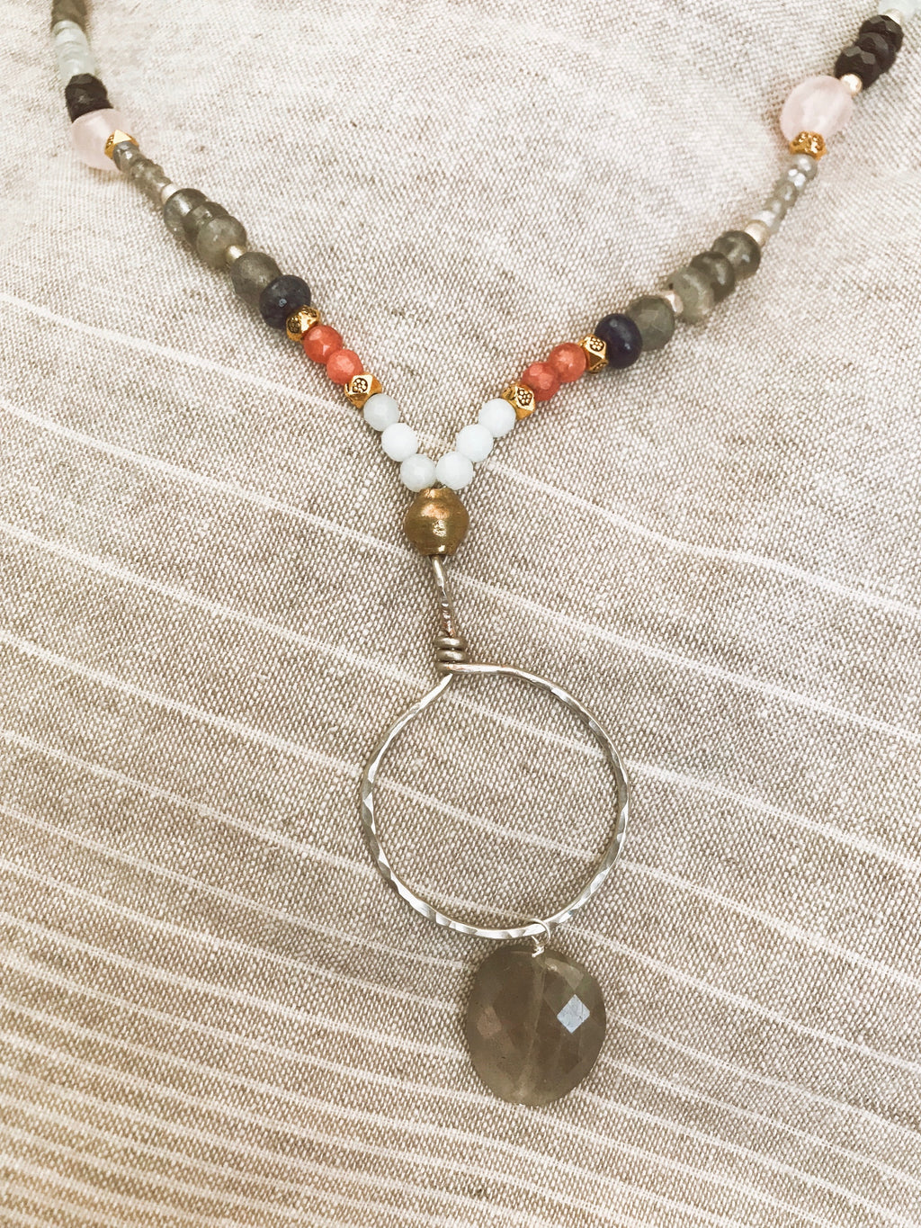 multi stone necklace with silver hoop and labradorite drop