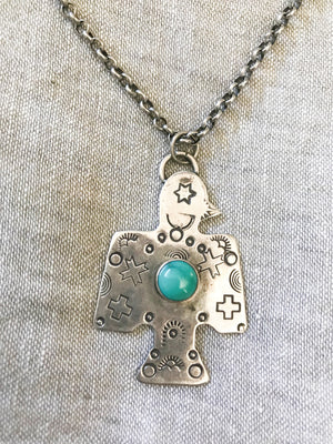 silver eagle with turquoise stone
