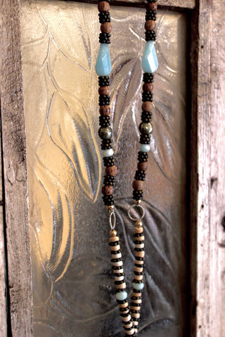 leather and wood with amanozite necklace