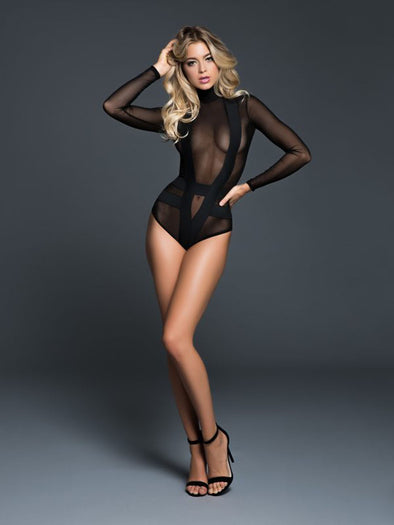 Seductively Sheer and Cheeky Body - Black - Small