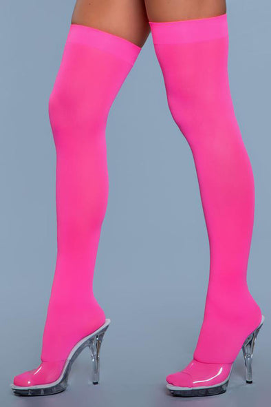 Opaque Nylon Thigh Highs - Neon Pink - One Size