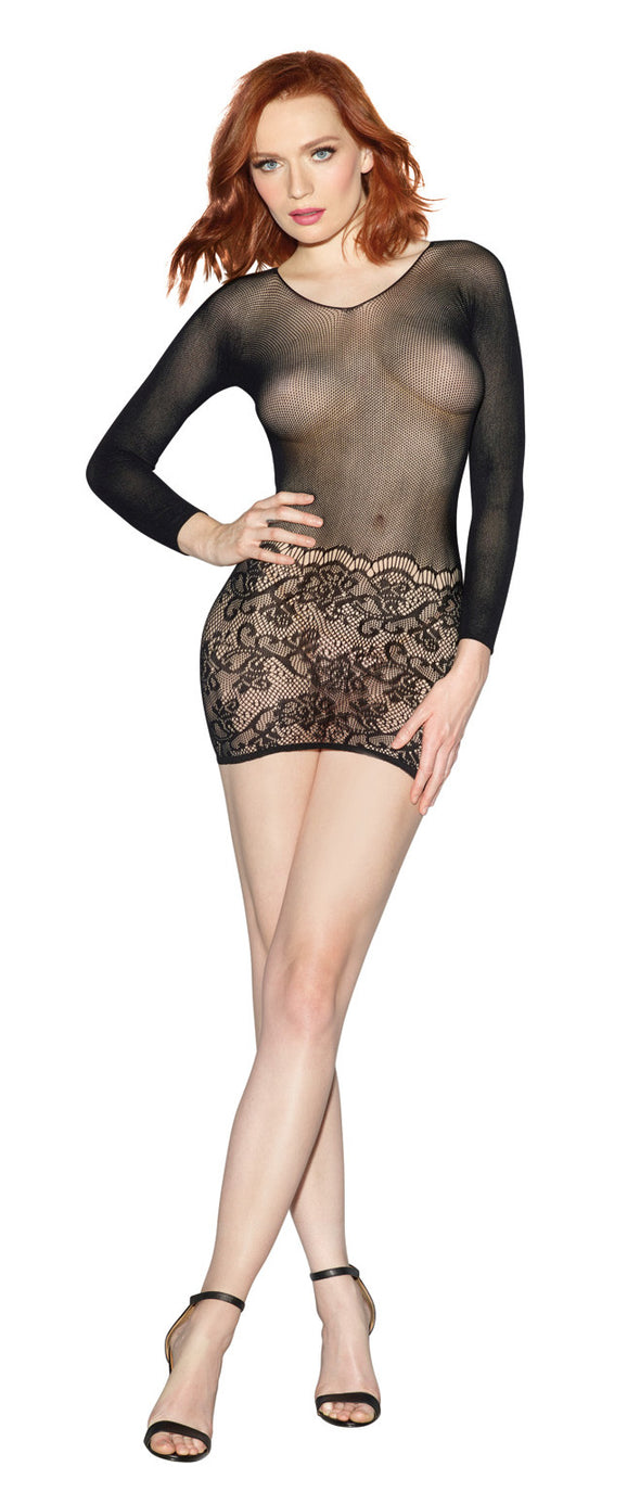 Versatile Fishnet Bodystocking - One Size - Black