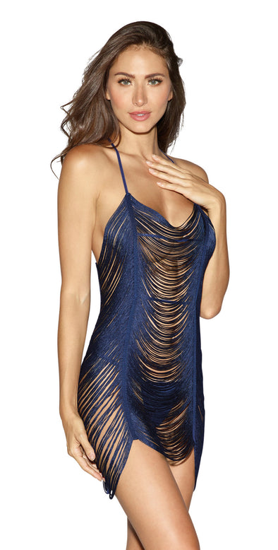 Fringe Chemise and G-String Set - Extra Large - Midnight