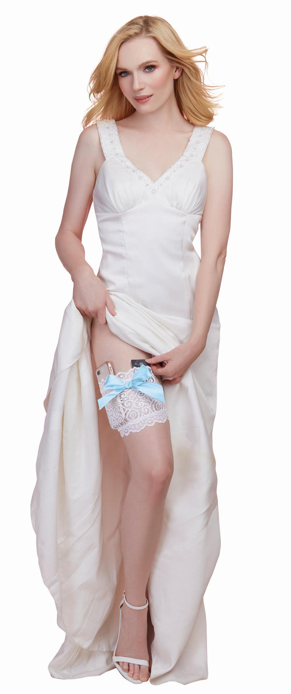 Leg Garter With Pocket - Medium- Large - White-  Blue
