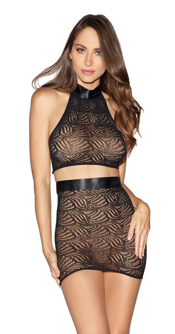 Bralette and Skirt - One Size - Black