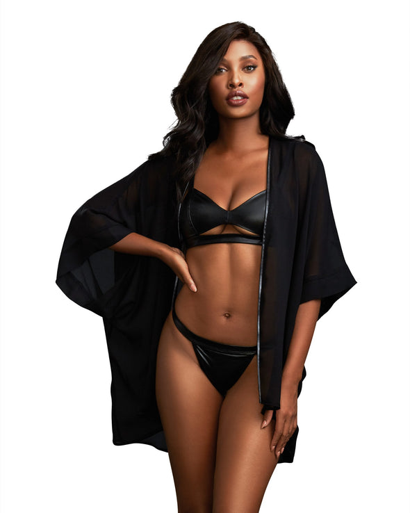 3 Piece Robe, Bralette & Thong Set - Large -  Black