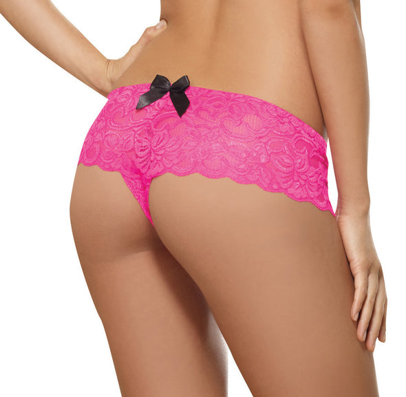 Open Crotch Lace Boy Short - Small - Hot Pink