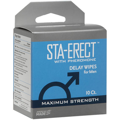 Sta-Erect With Pheromone - Delay Wipes for Men -  10 Pack