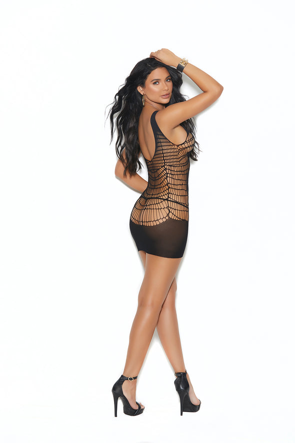 Crochet Mini Dress - One Size - Black