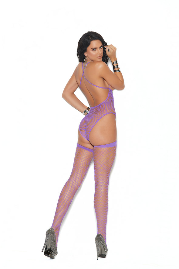 Fence Net Teddy and Matching Stockings - One Size - Purple