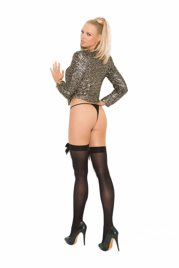 Opaque Thigh Hi With Satin Bow - Black