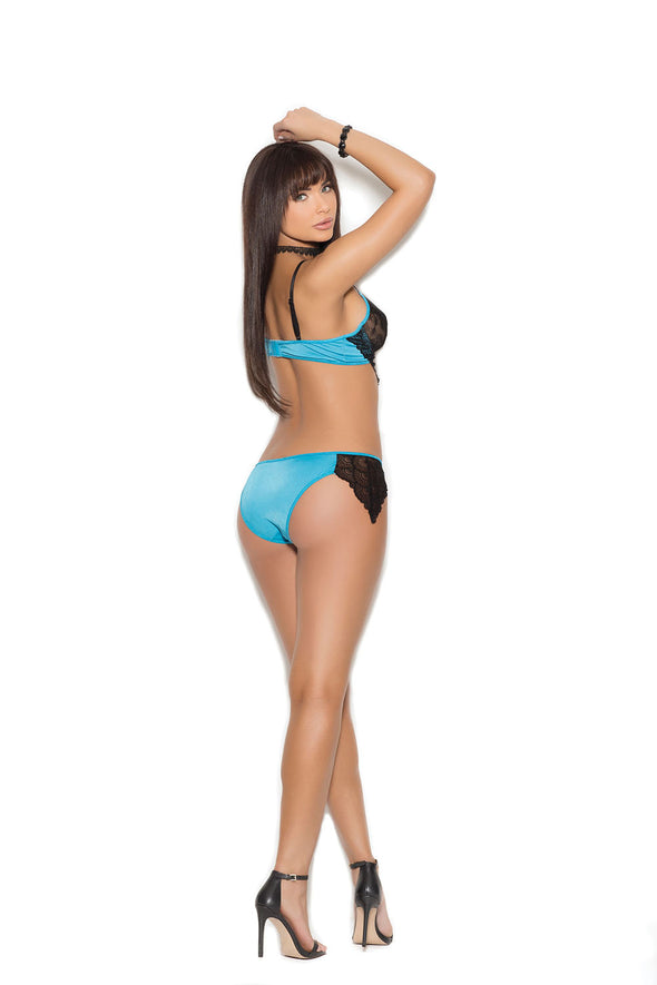Satin and Lace Underwire Bralette With Adjustable Strap and Matching Lined Panty With Lace - Large - Blue - Black