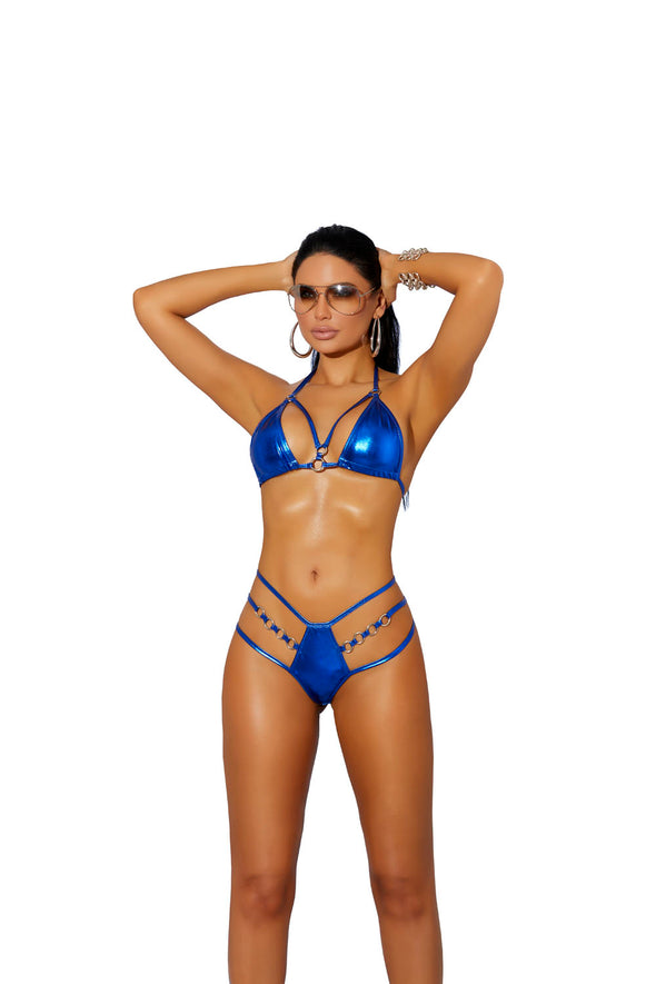 Lame Bikini Top and Matching High Waisted Thong - One Size - Royal Blue