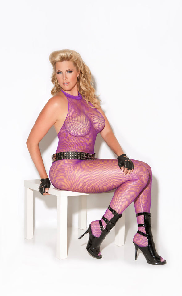 Fishnet Halter Bodystocking With Open Crotch -  Queen Size - Purple
