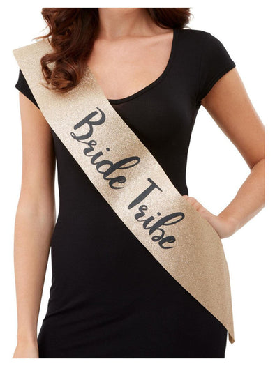 Deluxe Glitter Bride Tribe Sash - Gold and Black