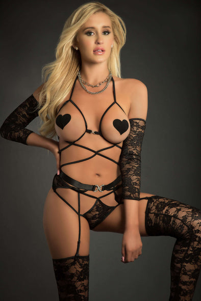4pc Web Garter Teddy With Open Cups Laced Sleeves Pasties and Stockings - One Size - Black