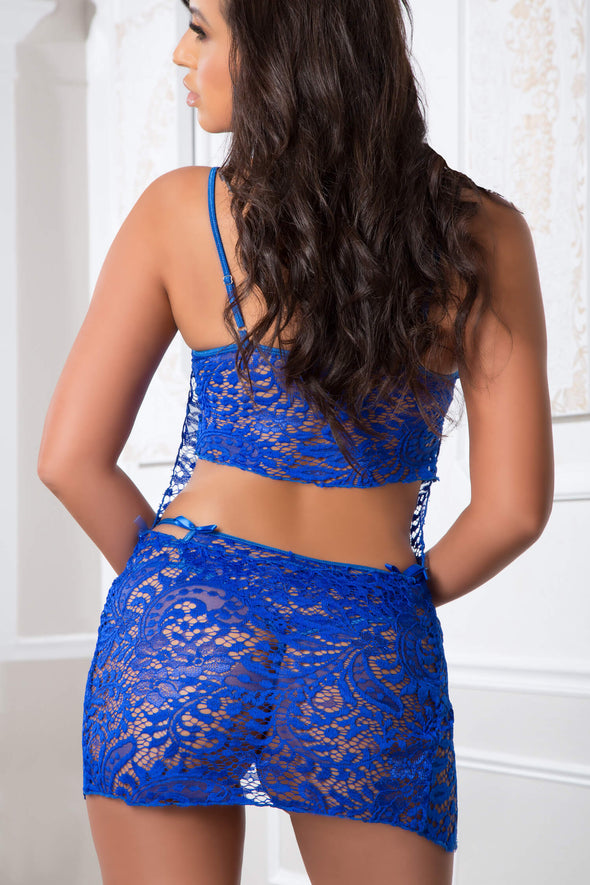 3pc Laced Lingerie Set and Cover-Up Slip - One Size - Blue Angel
