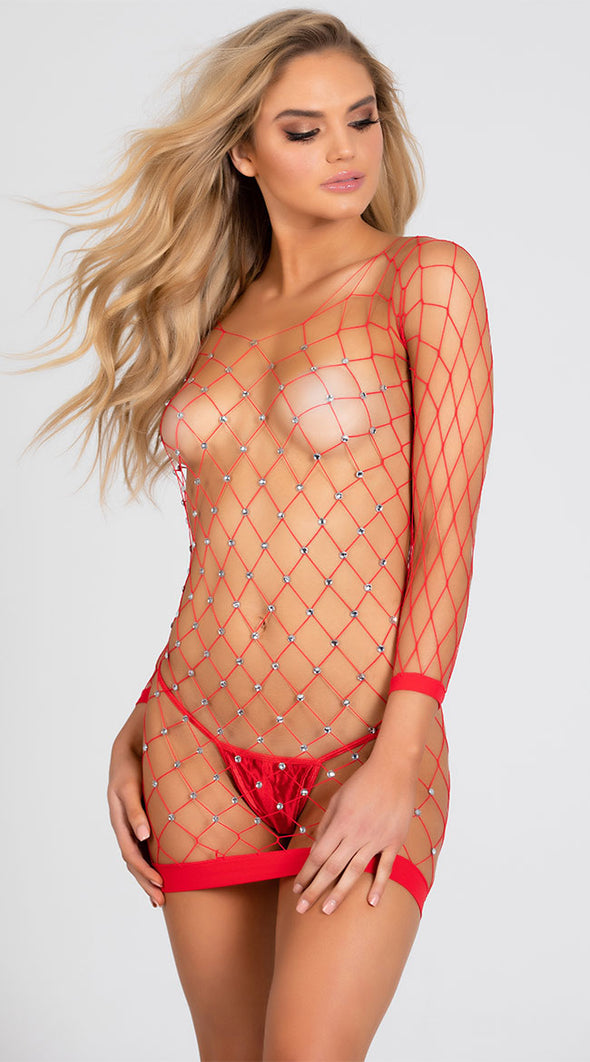 Sparkly Stretch Fishnet Long Sleeve Chemise - Red
