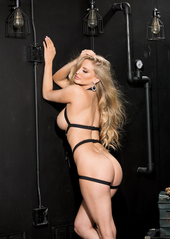 Strappy Elastic Cage Teddy - One Size - Black