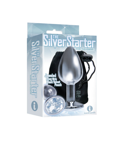 The 9's the Silver Starter Bejeweled Stainless Steel Plug - Diamond