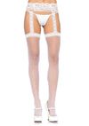 Sheer Lace Top Stockings With Attached Lace Garter Belt - One Size - White