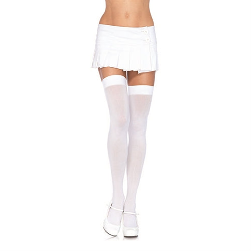 Opaque Thigh Highs - Queen Size - White
