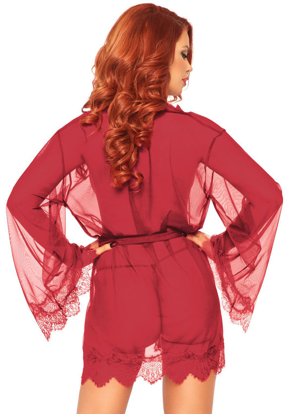3 Pc Sheer Short Robe With Eyelash Lace Trim and Flared Sleeves - Burgandy - Small-medium