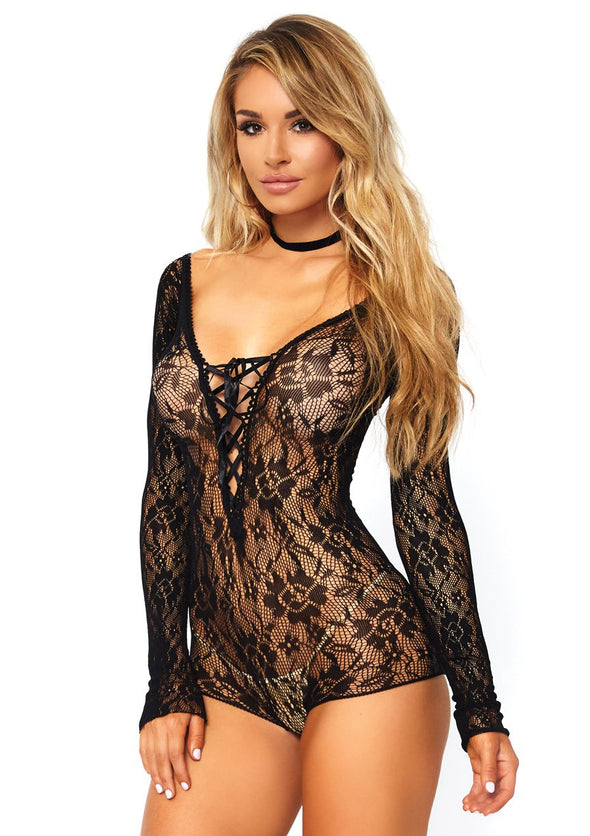 Lace Up Romper - One Size - Black