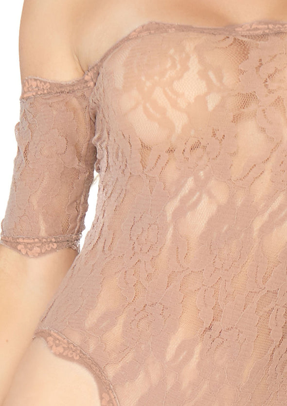 Strapless Lace Teddy - Nude - Medium-large