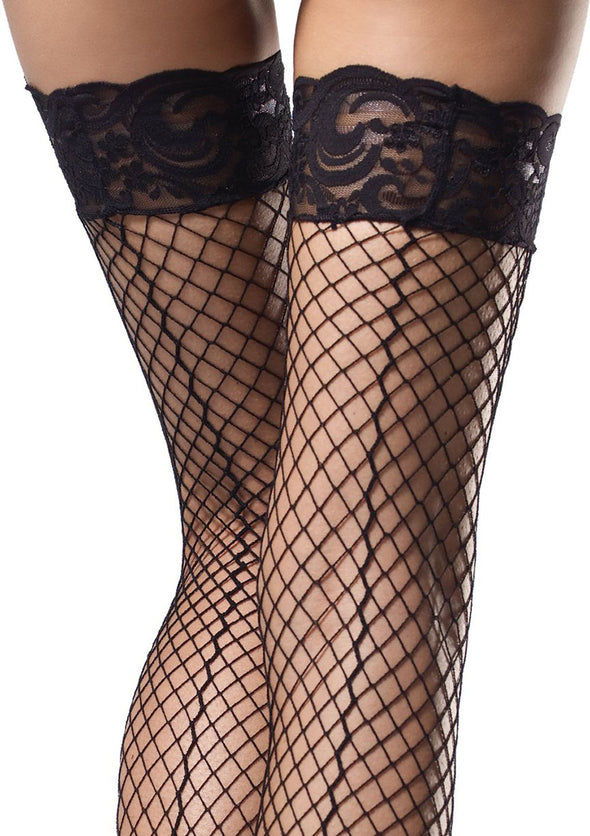Stay Up Industrial Net Backseam Thigh Highs With Lace Top and Satin Bow Accent - One Size - Black