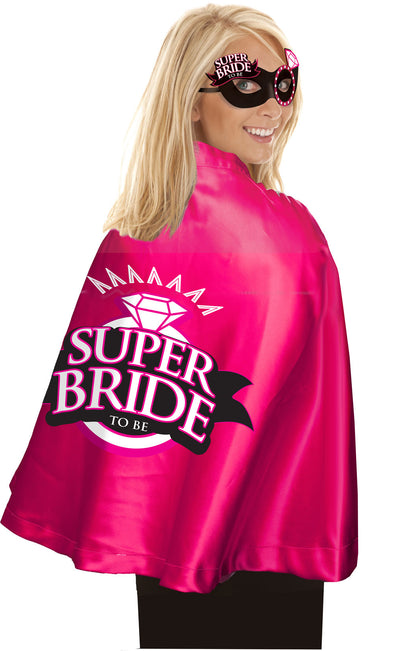 Super Bride Cape and Mask - Hot Pink-black