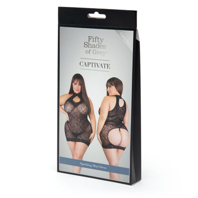Fifty Shades of Grey Captivate Lace Spanking Mini Dress - Curve Size - Black