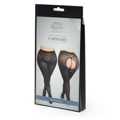 Fifty Shades of Grey Captivate Spanking Pantyhose - Curve Size - Black