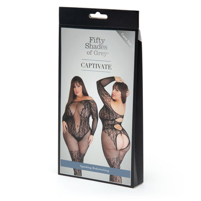 Fifty Shades of Grey Captivate Lace Spanking Bodystocking - Curve Size - Black