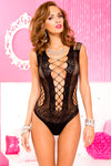 Criss Cross Front and Back With Cut Out Net Side  and Shredded Straps Spandex Teddy - One Size - Black