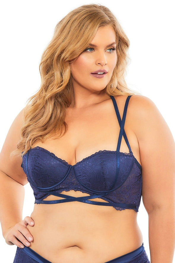 Lace Push Up Balconette Bra With Crossing Halter Straps - Estate Blue - 3x