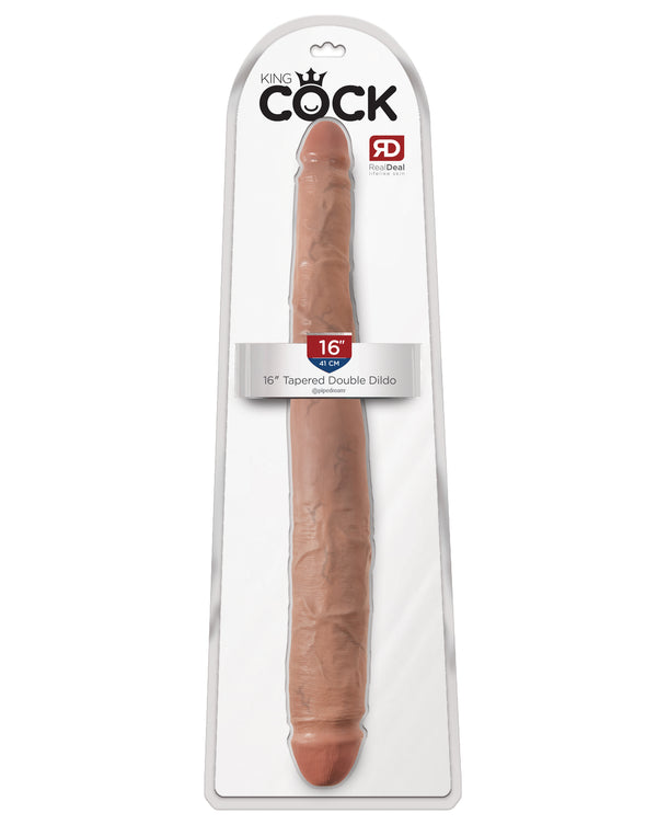 "King Cock  16"" Tapered Double Dildo - Tan"