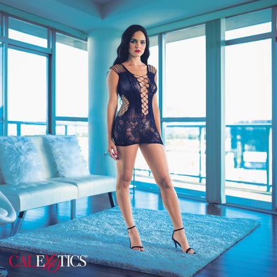 Scandal Peek-a-Boo Mini Dress - One Size - Black-Lingerie & Sexy Apparel-CalExotics-Andy's Adult World