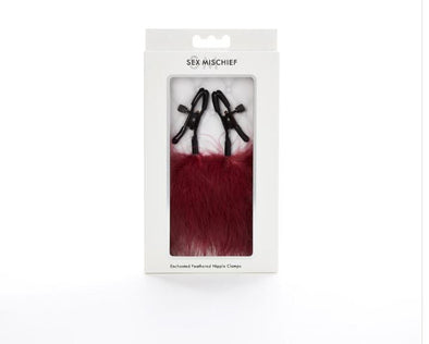 Sex and Mischief Enchanted Feather Nipple Clamps - Burgundy