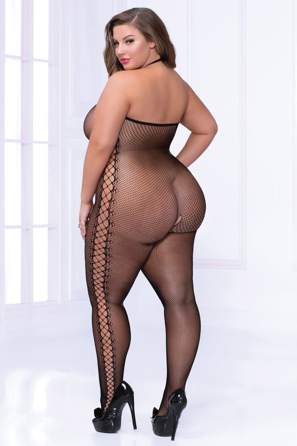 Fishnet Chemise Bodystocking - Queen Size - Black