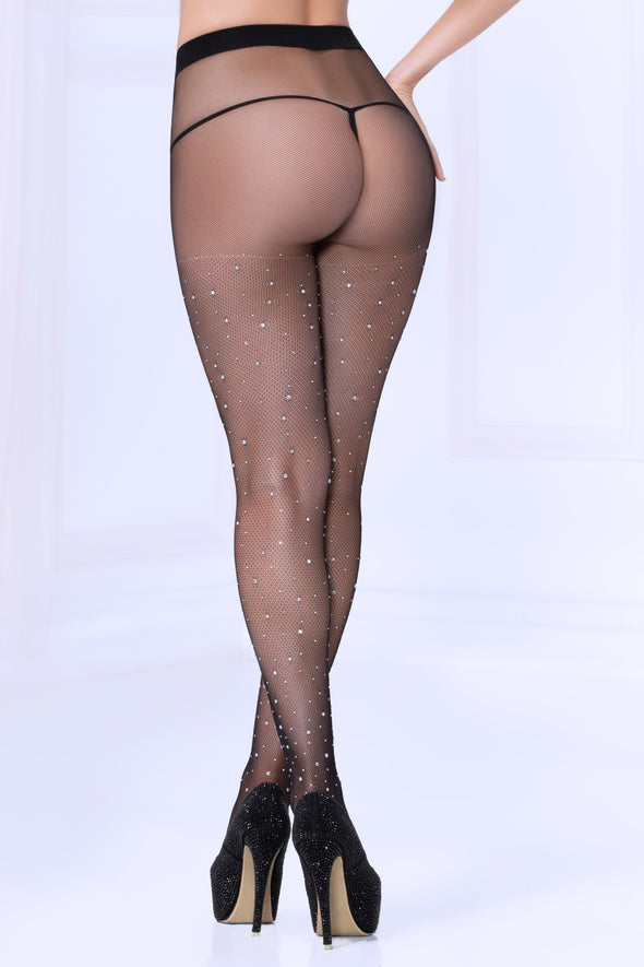 Crystal Rhinestone Fishnet Stockings - Black - One Size
