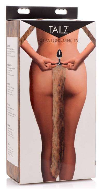 Extra Long Mink Tail Metal Anal Plug