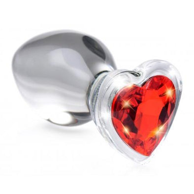 Red Heart Gem Glass Anal Plug - Large-Anal Toys & Stimulators-XR Brands Booty Sparks-Andy's Adult World