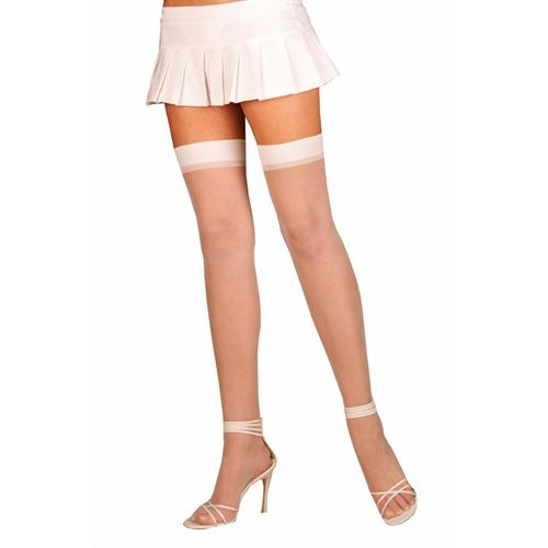 Sheer Thigh High - Queen Size - White
