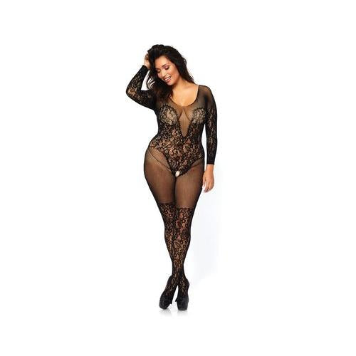 Vine Lace Bodystocking - Queen Size - Black