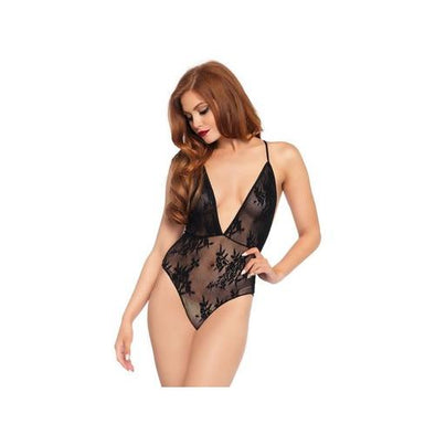 Deep-v Floral Lace Teddy With Crossover Back Straps - Black - One Size