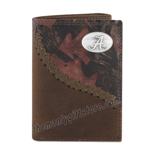 Alabama Crimson Tide Fence Row Camo Leather Trifold Wallet