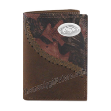 Load image into Gallery viewer, Arkansas Razorbacks Fence Row Camo Leather Trifold Wallet