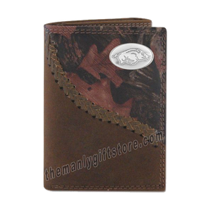 Arkansas Razorbacks Fence Row Camo Leather Trifold Wallet